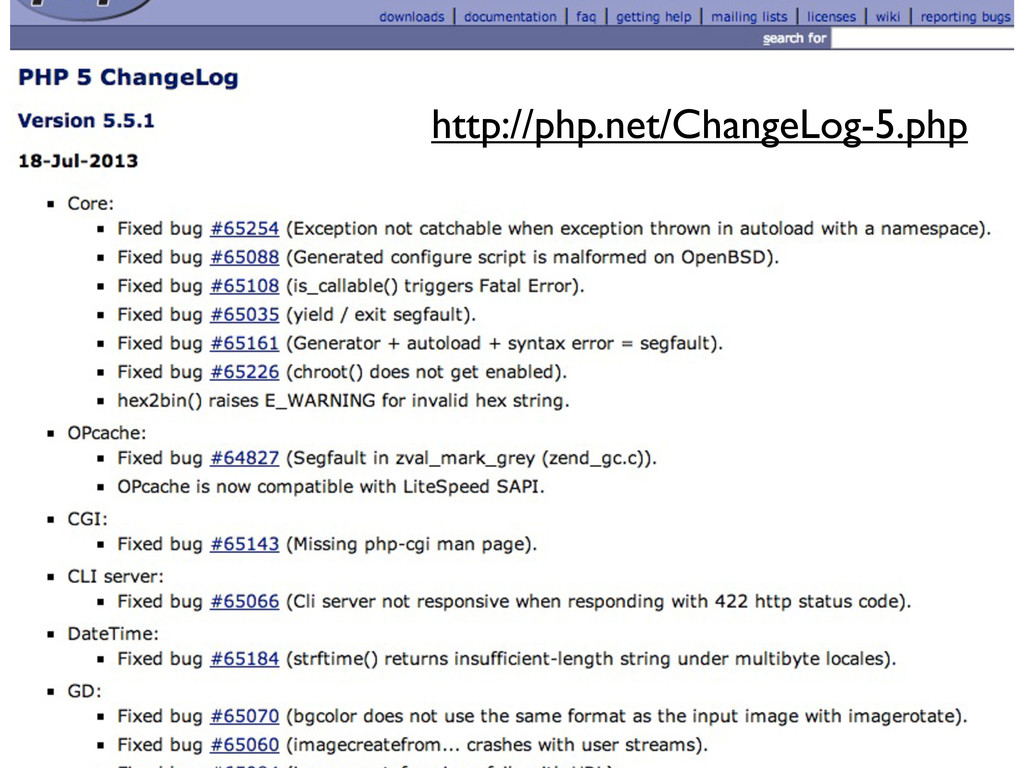http://php.net/ChangeLog-5.php