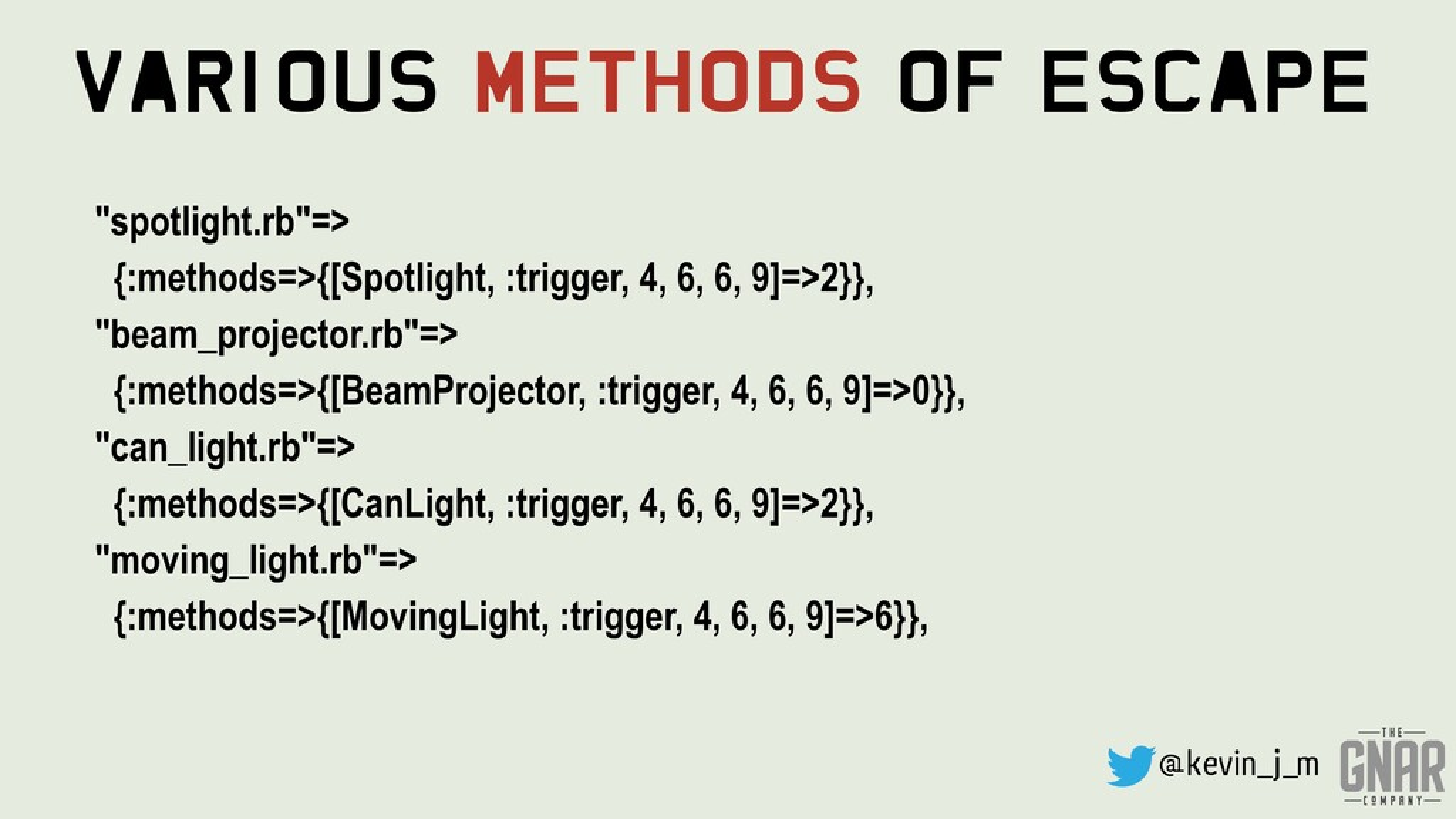 "@kevin_j_m Various Methods Of Escape ""spotlight..."