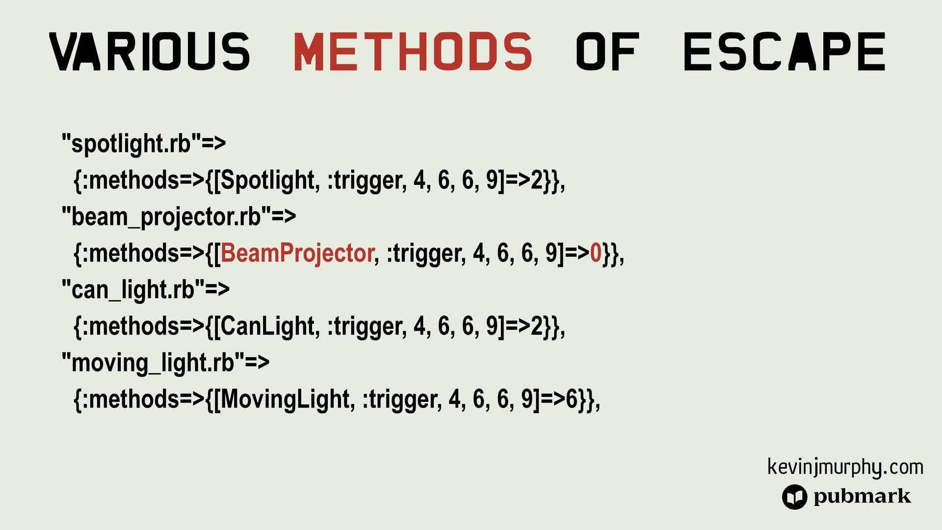 @kevin_j_m Various Methods Of Escape class Ligh...