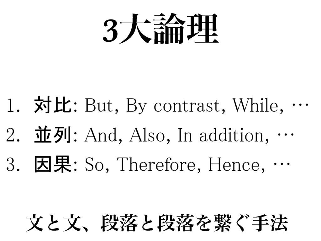 1. 対比: But, By contrast, While, … 2. 並列: And, A...