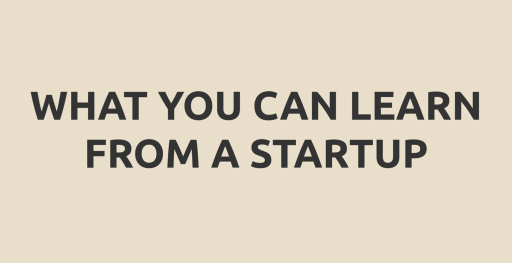 WHAT YOU CAN LEARN FROM A STARTUP