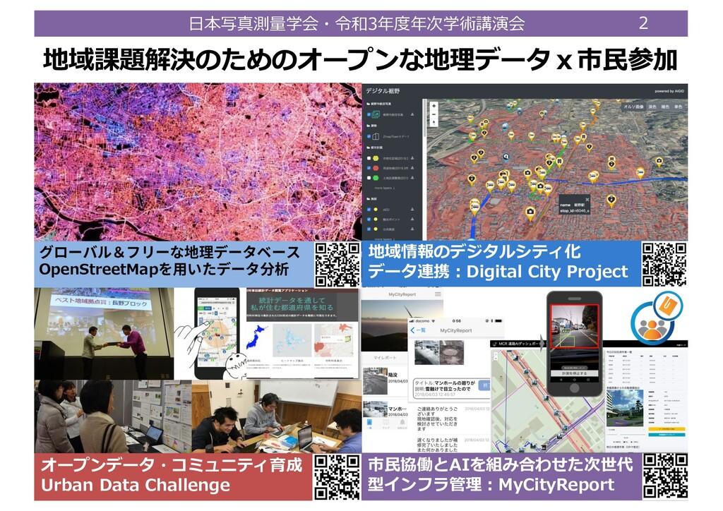⽇本写真測量学会・令和3年度年次学術講演会 2 地域課題解決のためのオープンな地理データx市⺠...