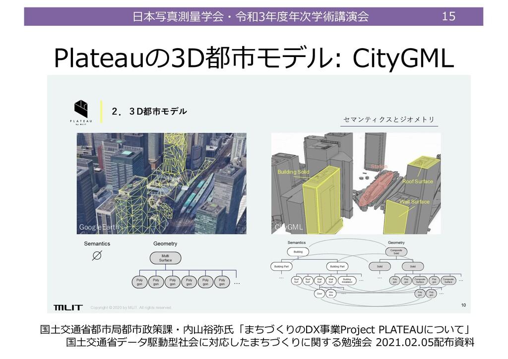 ⽇本写真測量学会・令和3年度年次学術講演会 15 Plateauの3D都市モデル: CityG...