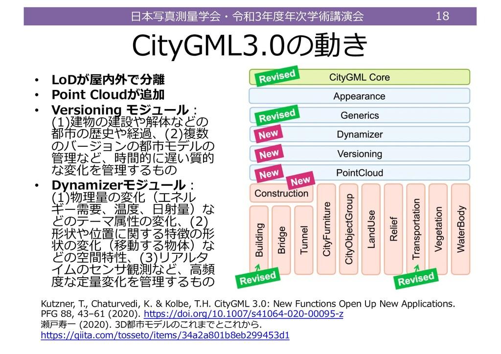 ⽇本写真測量学会・令和3年度年次学術講演会 18 CityGML3.0の動き • LoDが屋内...