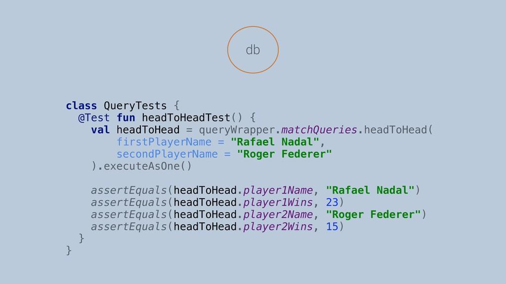db class QueryTests { @Test fun headToHeadTest(...