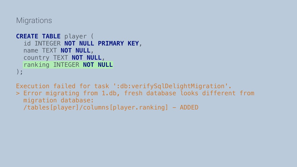 Migrations CREATE TABLE player ( id INTEGER NOT...