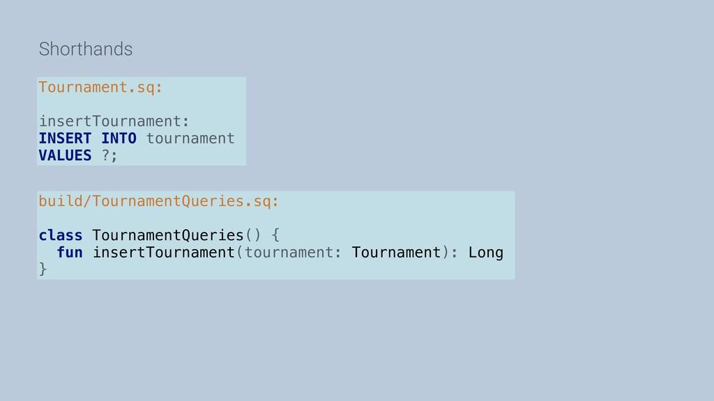 Shorthands Tournament.sq: insertTournament: INS...