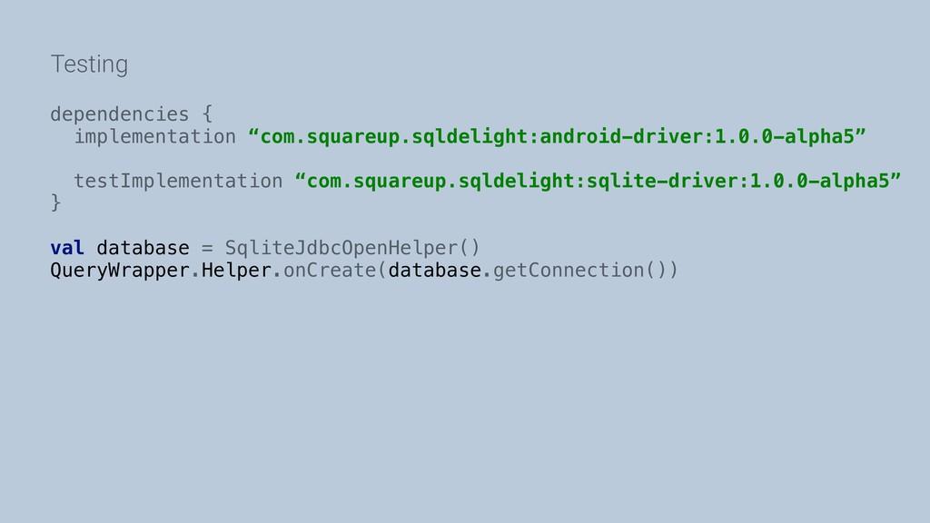 """Testing dependencies { implementation """"com.squa..."""