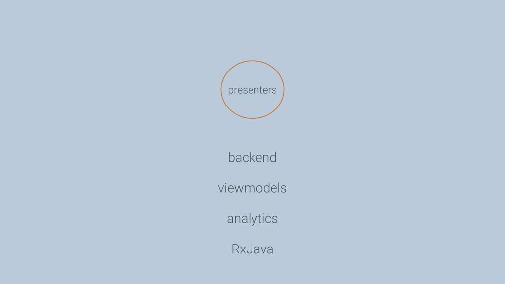 presenters backend viewmodels analytics RxJava