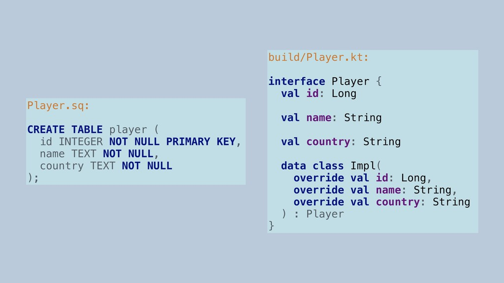 Player.sq: CREATE TABLE player ( id INTEGER NOT...
