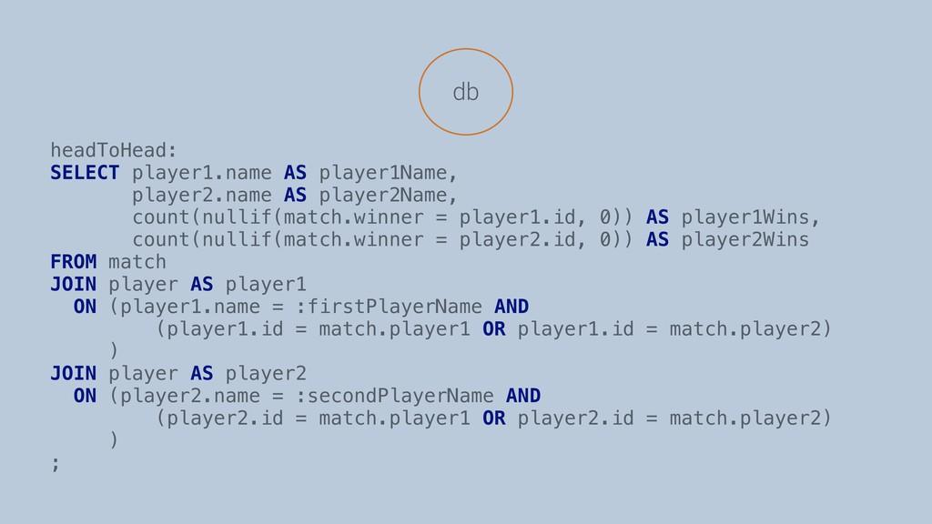 db headToHead: SELECT player1.name AS player1Na...
