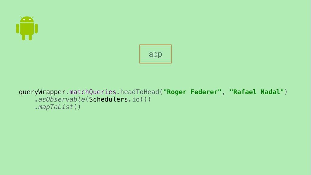 "app queryWrapper.matchQueries.headToHead(""Roger..."