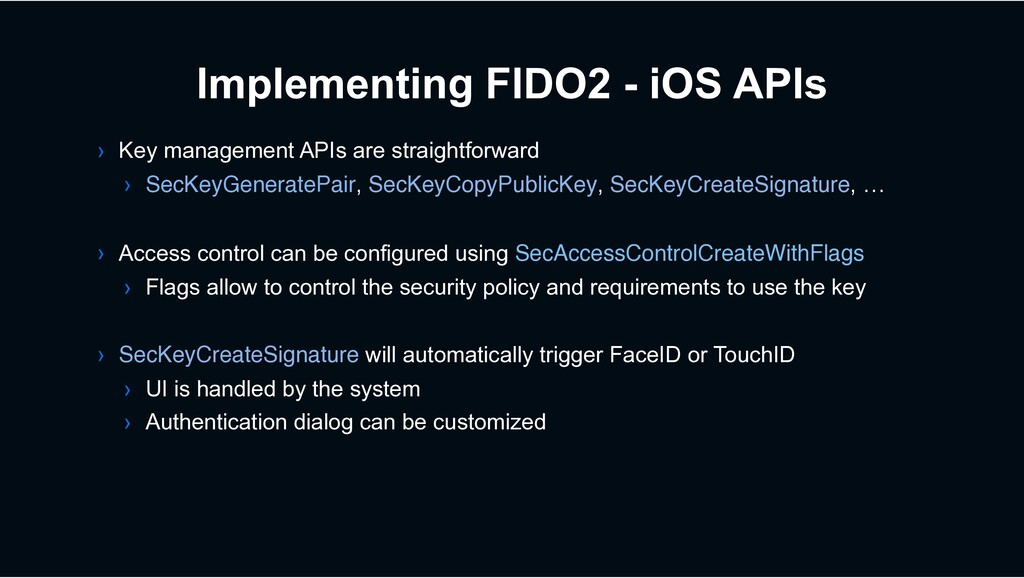 Implementing FIDO2 - iOS APIs › Key management ...