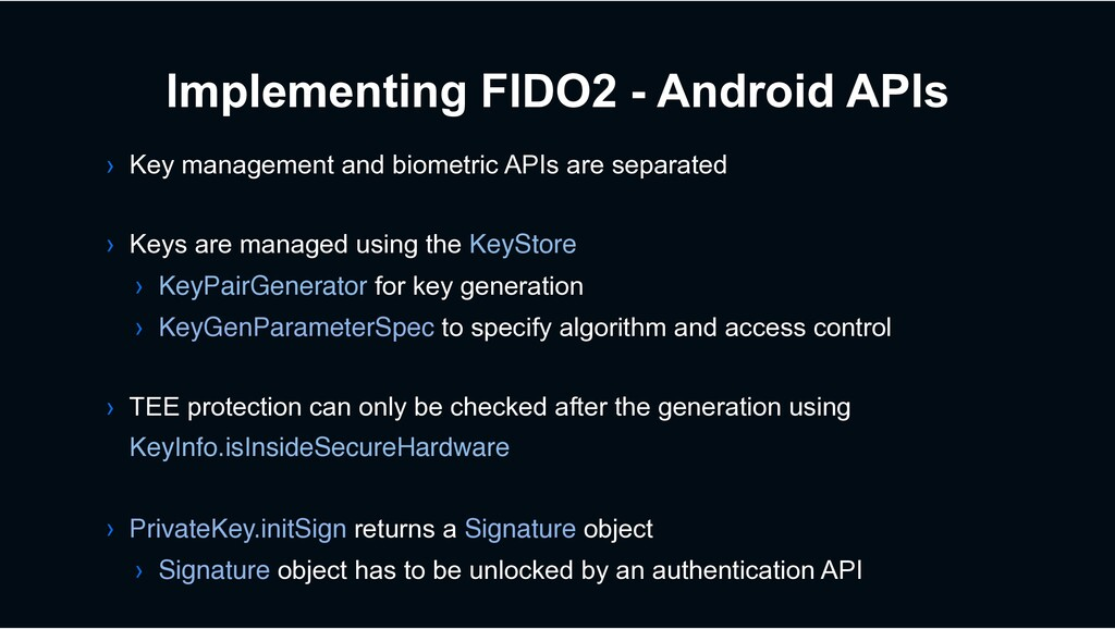 Implementing FIDO2 - Android APIs › Key managem...
