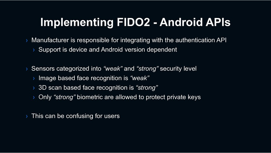 Implementing FIDO2 - Android APIs › Manufacture...