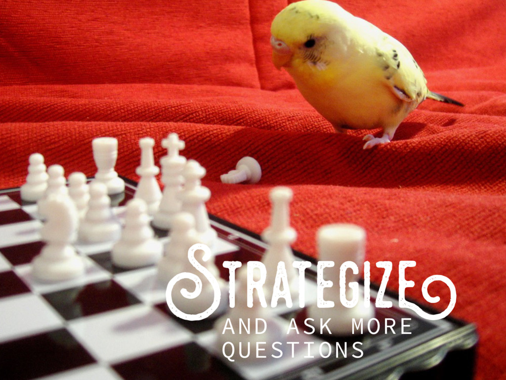 Strategize AND ASK MORE QUESTIONS