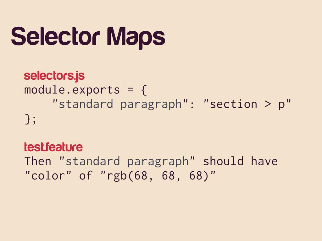"""Selector Maps selectors.js module.exports = { """"..."""
