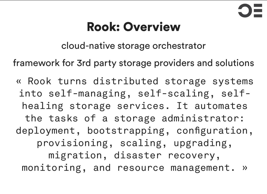 Rook: Overview Rook: Overview cloud-native stor...