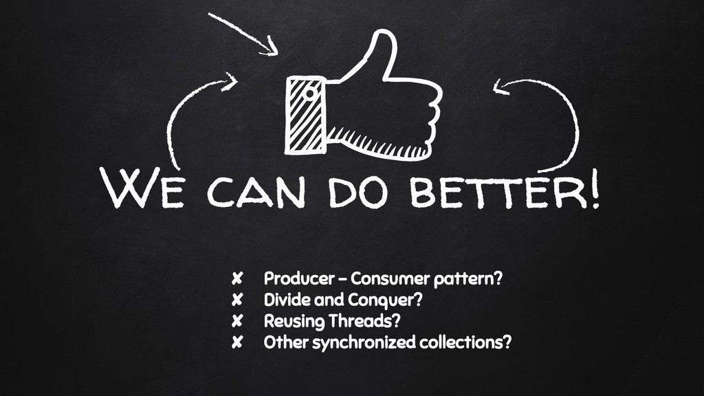 We can do better! ✘ Producer - Consumer pattern...