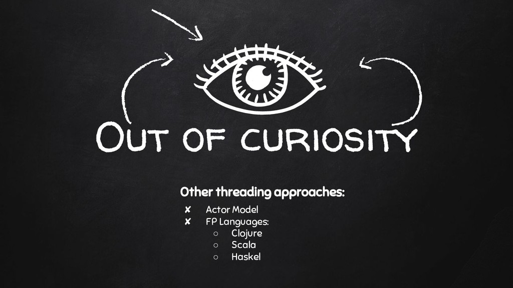 Out of curiosity Other threading approaches: ✘ ...