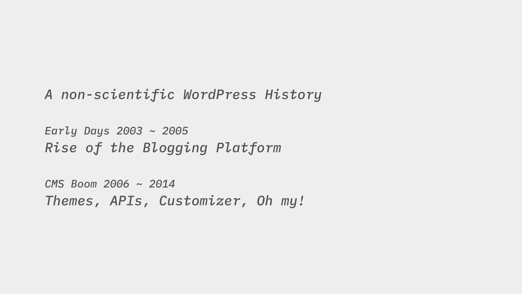 A non-scientific WordPress History Early Days 2...