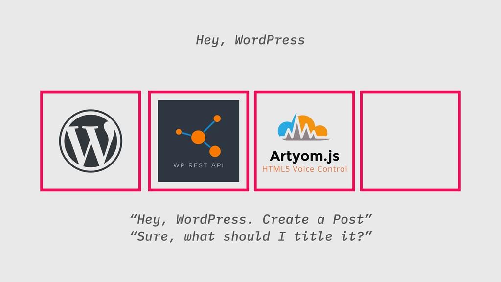 """Hey, WordPress. Create a Post"" ""Sure, what sho..."