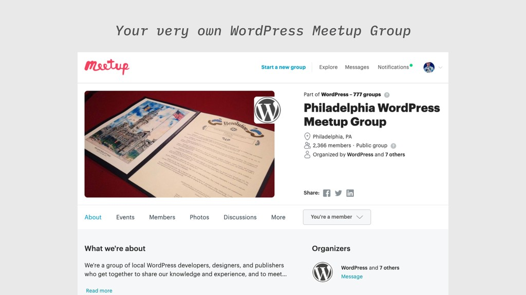 Your very own WordPress Meetup Group