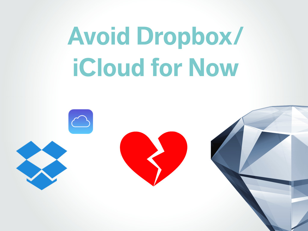 Avoid Dropbox/ iCloud for Now