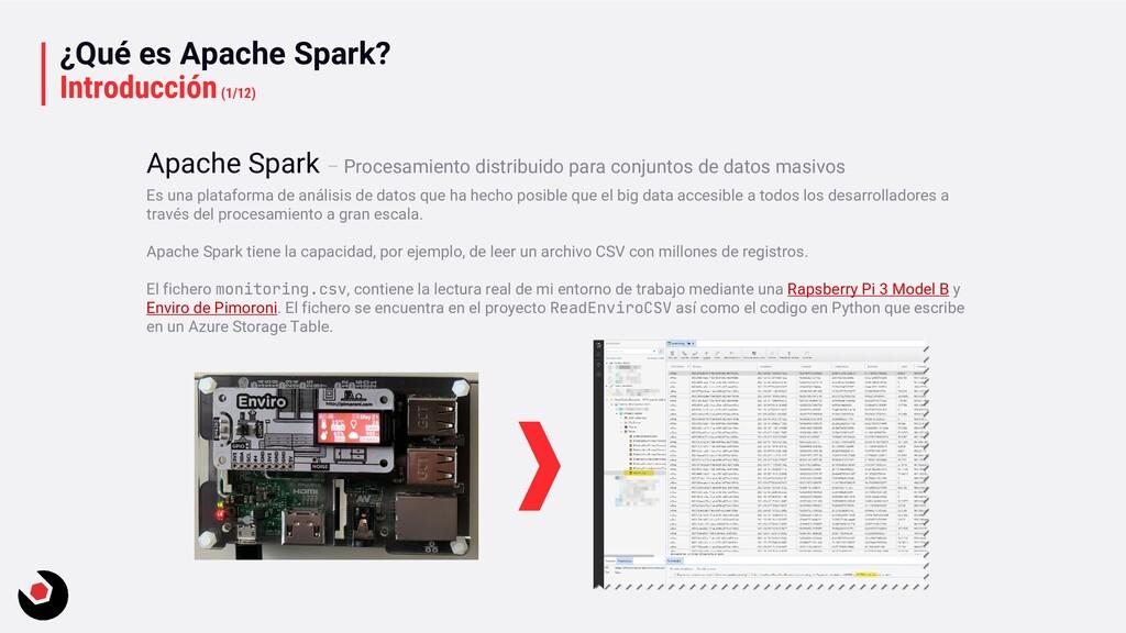 ¿Qué es Apache Spark? Introducción(1/12) Es una...