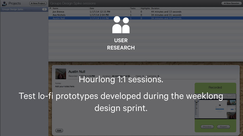 108  USER RESEARCH Hourlong 1:1 sessions. Test ...