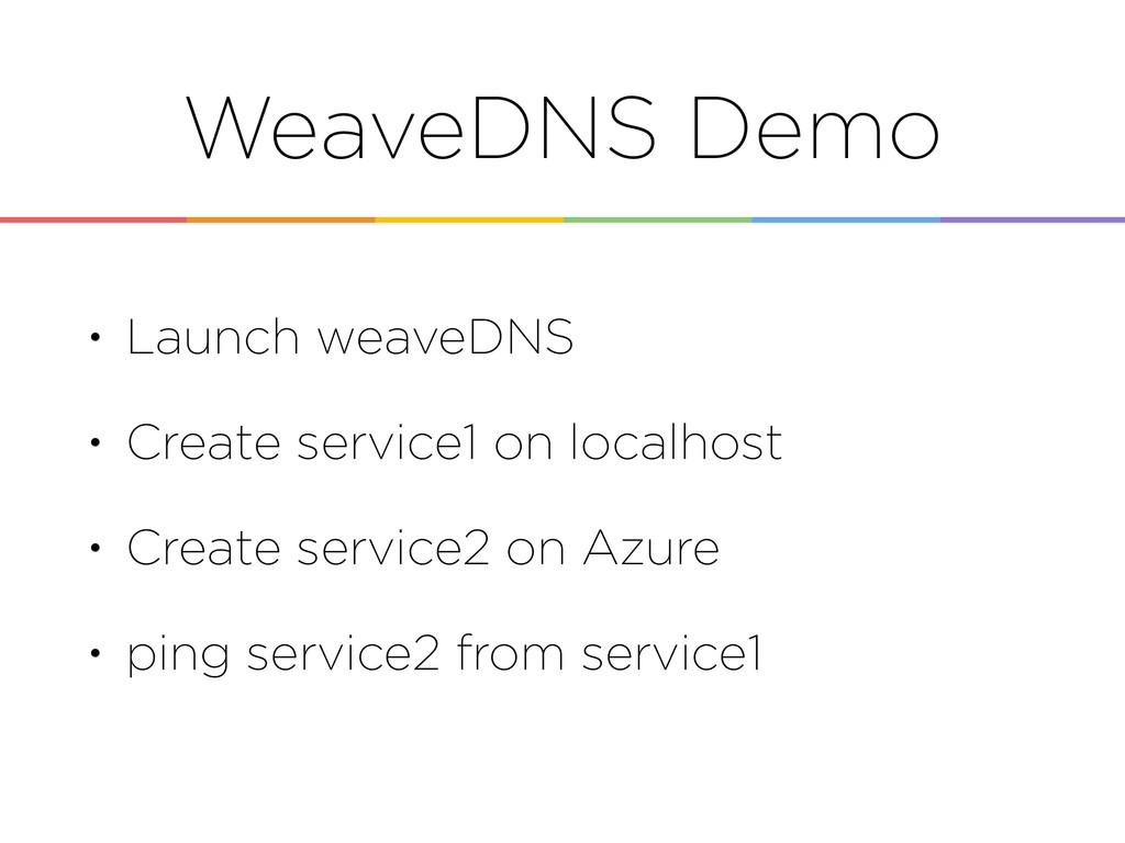 WeaveDNS Demo • Launch weaveDNS • Create servic...