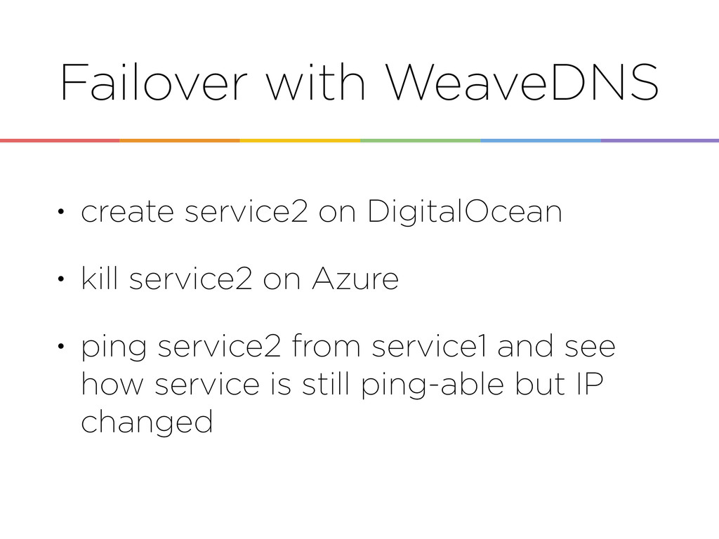 Failover with WeaveDNS • create service2 on Dig...