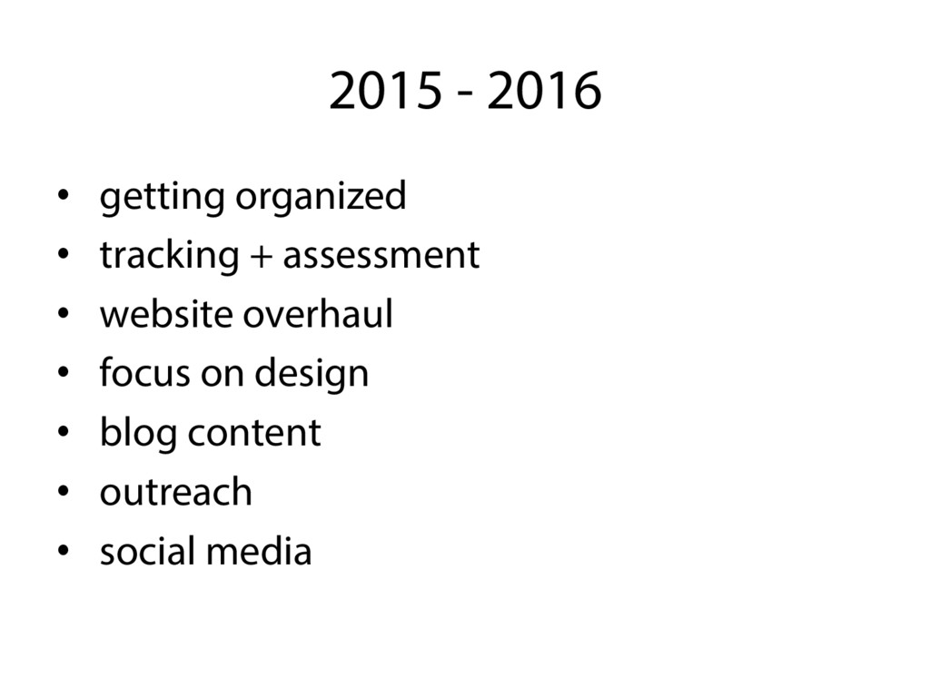 2015 - 2016 •  getting organized •  tracking + ...