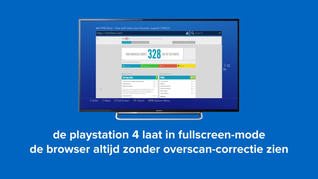 de playstation 4 laat in fullscreen-mode de br...