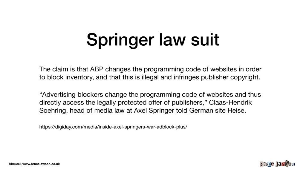 @brucel, www.brucelawson.co.uk Springer law sui...