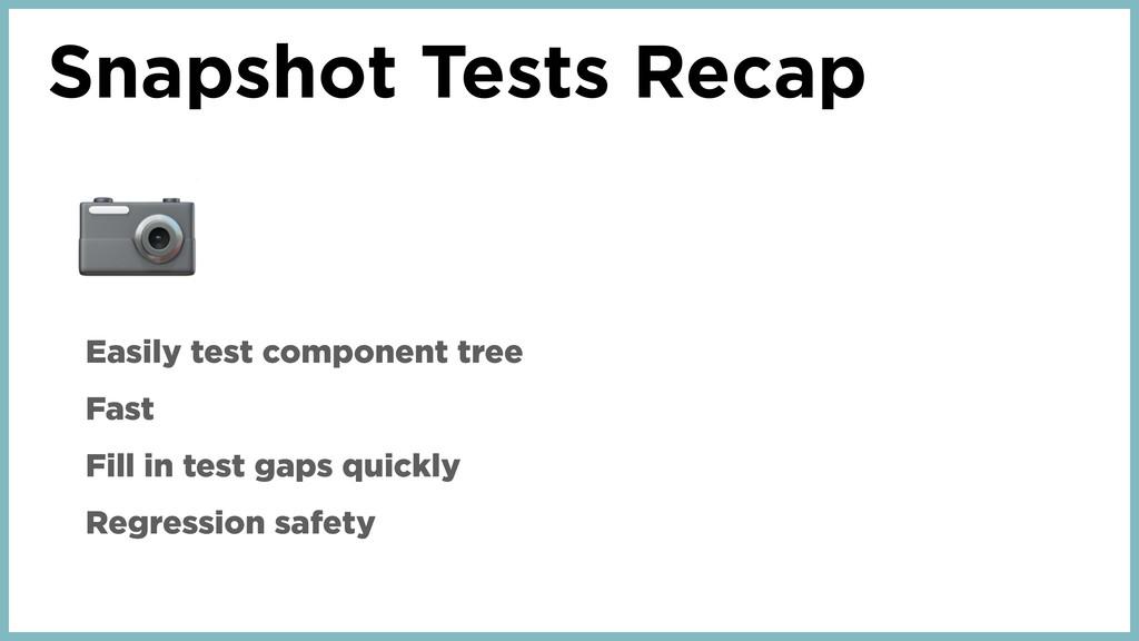 Snapshot Tests Recap  Easily test component tre...