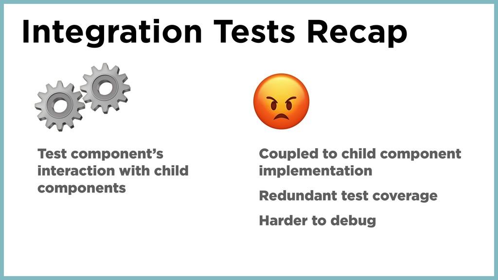 Integration Tests Recap ⚙ Test component's inte...