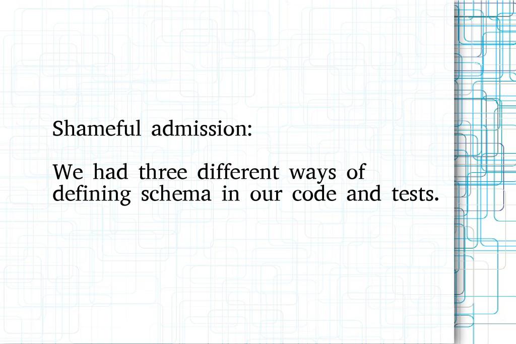 Shameful admission: We had three different ways...