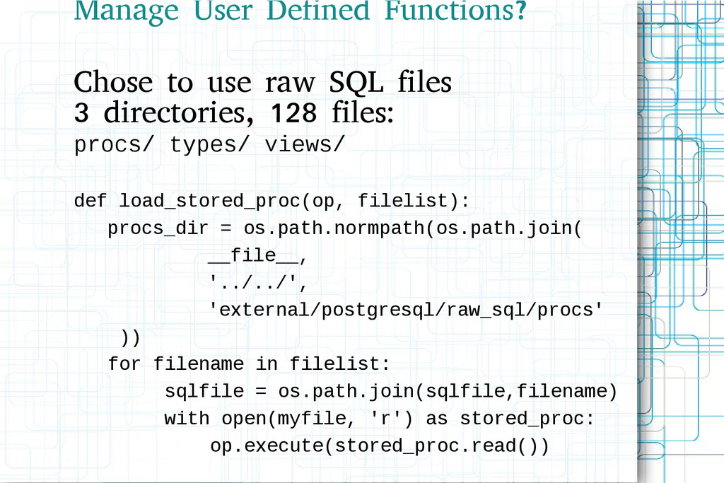 Manage User Defined Functions? Chose to use raw...