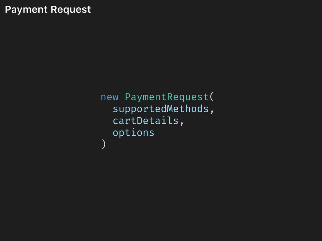 Payment Request new PaymentRequest( supportedMe...