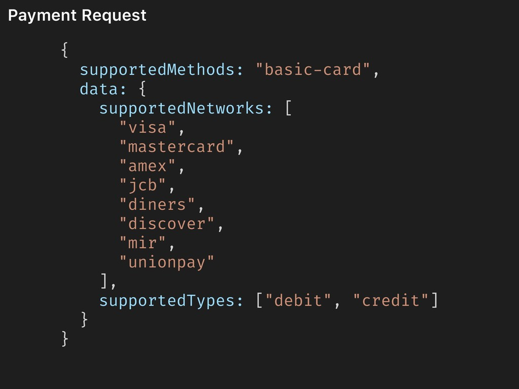 """Payment Request { supportedMethods: """"basic-card..."""