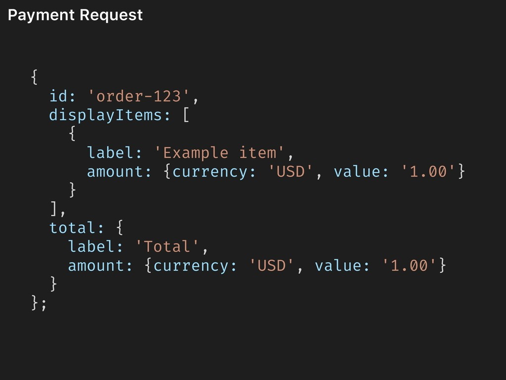 Payment Request { id: 'order-123', displayItems...