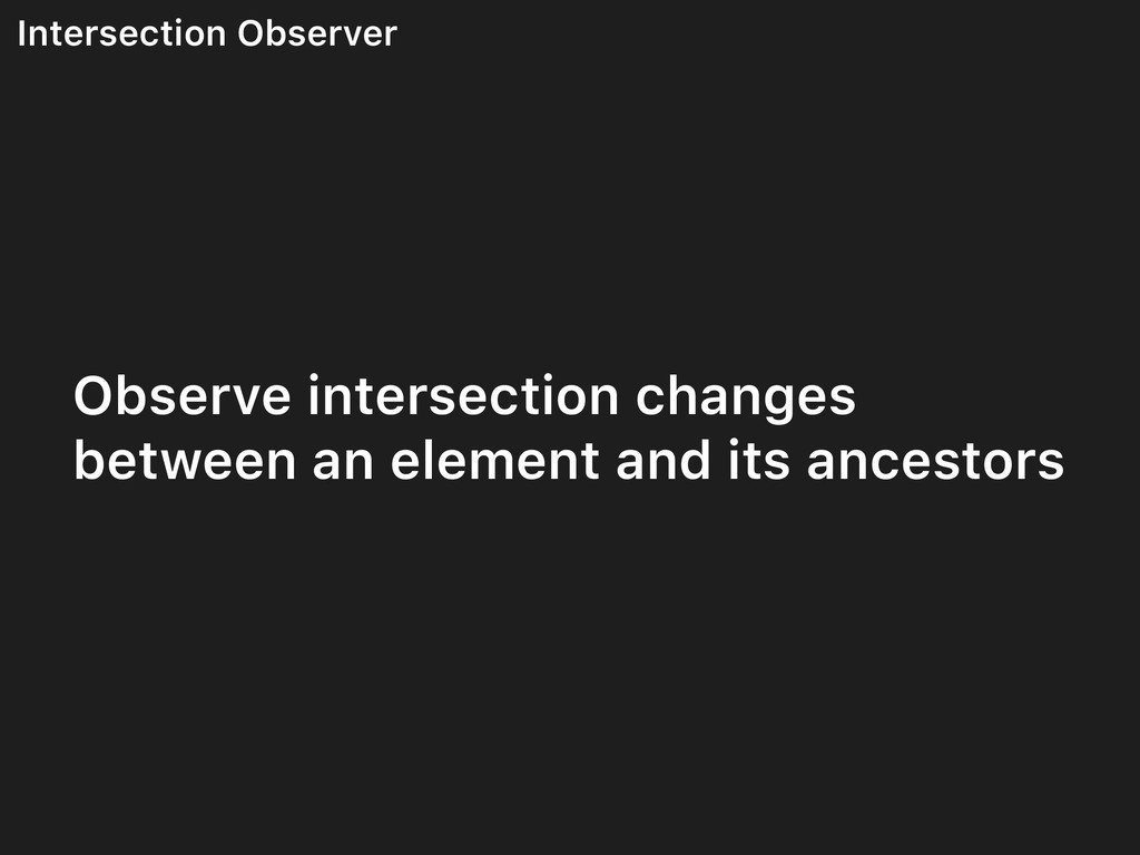 Intersection Observer Observe intersection chan...