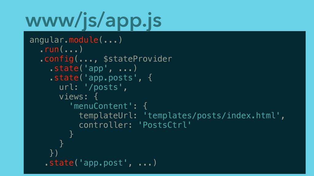 www/js/app.js angular.module(...) .run(...) .co...