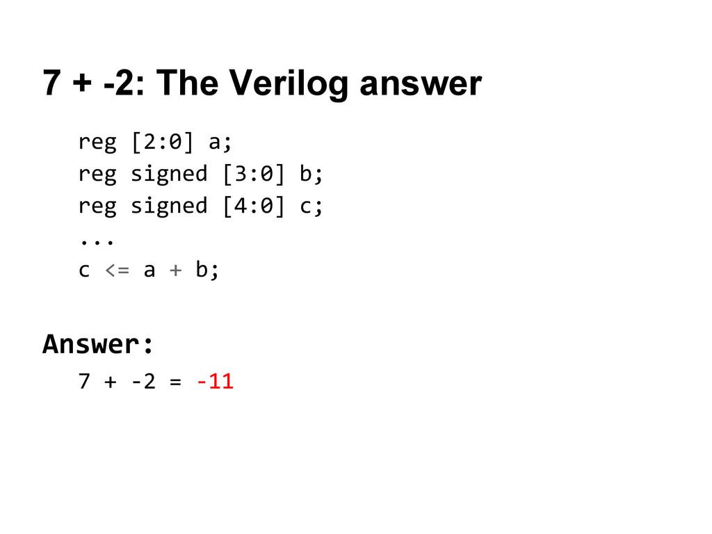 7 + -2: The Verilog answer reg [2:0] a; reg sig...