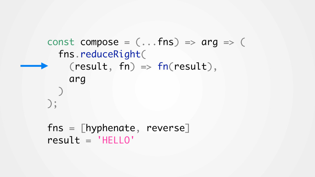const compose = (...fns) => arg => ( fns.reduce...