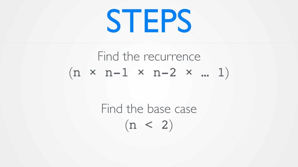 STEPS Find the recurrence (n × n-1 × n-2 × … 1...