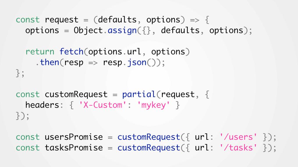 const request = (defaults, options) => { option...