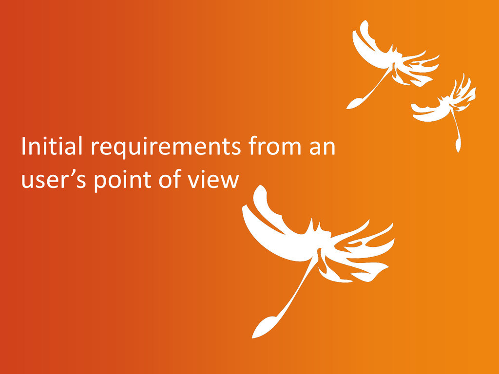 Initial requirements from an user's point of vi...