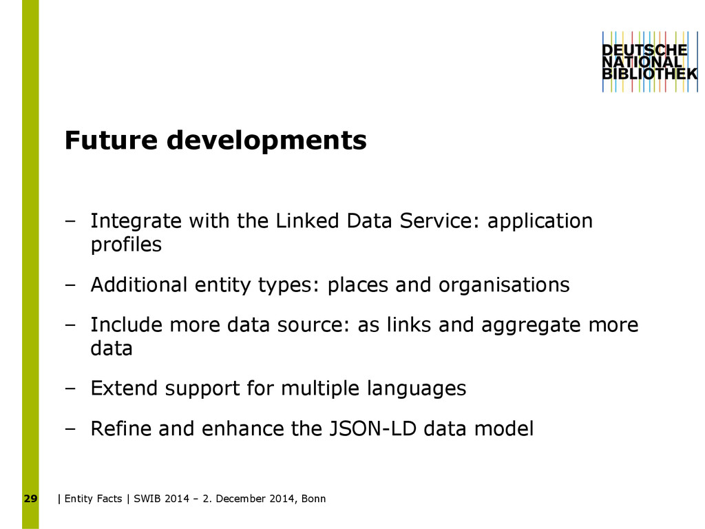 Future developments – Integrate with the Linked...